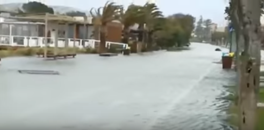 21.01.2017 Poetto's promenade, Cagliari, Italy, submerged during the Violent Storm